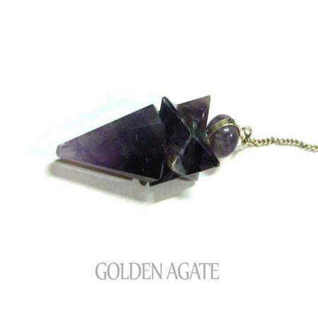 Amethyst Star Faceted Cone Pendulum