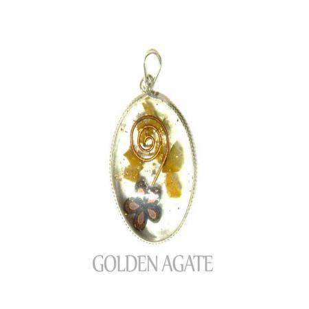 Golden Agate Oval Ring Pendant