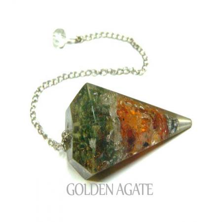 Mix Crystal Chips Orgone Agate Pendulum