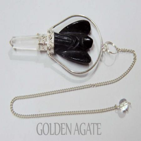 Black Tourmaline Angel Basket Pendulum